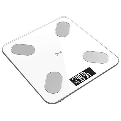 ENticerowts Körperfettwaage, elektronisch, digital, für das Badezimmer, Körperfettwaage, intelligente Bluetooth-App, einfach zu bedienen, Weiß