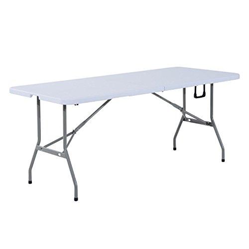 homcom Outsunny Tavolo Pieghevole da Picnic Tavolino da Giardino Campeggio Portatile in PE 180x 74x 74cm Bianco