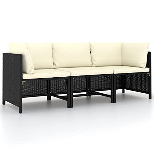 vidaXL Gartensofa 3-Sitzer mit Auflagen Lounge Sofa Couch Sitzgruppe Ecksofa Mittelsofa Sitzgarnitur Gartenset Schwarz Poly Rattan
