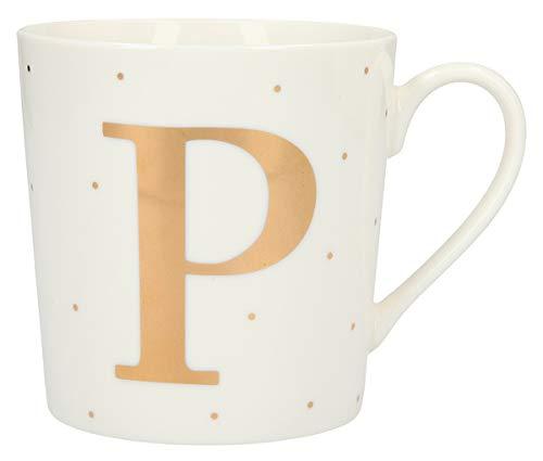 Depesche 5909.042 - Taza de porcelana con asa (300 ml), diseño con texto 'P'