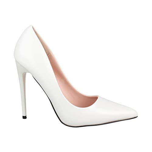 Elara Spitze Damen Pumps Stilettos Elegante High Heels B0-108 White 40