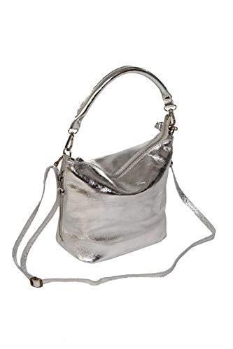 Damen Handtasche Lady Glamour Echtes Rindleder Henkeltasche Schultertasche Umhängetasche Silber metallic