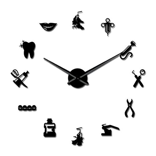 Reloj de cocina DIY arte gigante reloj de pared 3D grande acrílico reloj de pared gran aguja espejo decoración de oficina