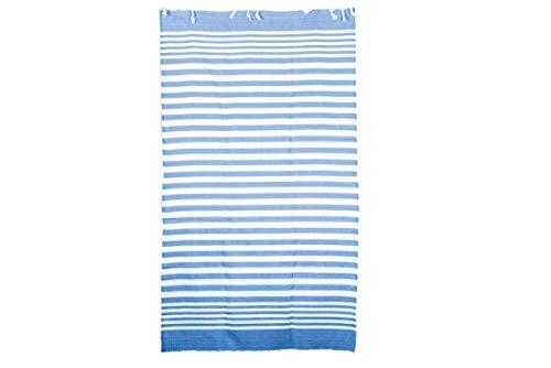 Fratelli Pesce Hermanos Pescado Toalla de Playa Rayas Azules Algodón 190X 95, Unisex–Adulto, Color Blanco, 190X 95