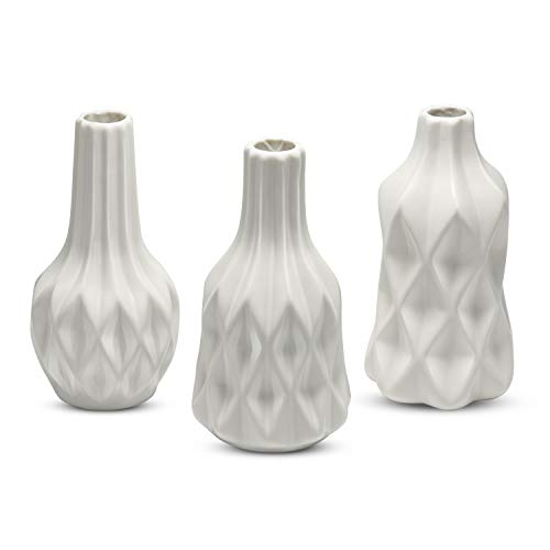 Dr.Cerart Vase Set Blumenvase Bodenvase Deko Moderne Keramikvase Kleine Mini 3 Stück Weiß