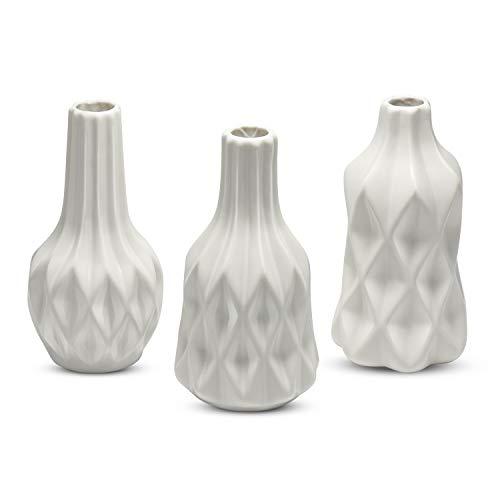 Modern Home Decor White Ceramic Vase, Dr.Cerart Small Flower Bud Vase for Household Adornment, Office, Living Room Decoration-Set of 3 Different Stripes Vases