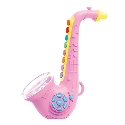 Searchyou - Saxophon für Kinder, Musikinstrument Spielzeug Saxophon mit 7 farbigen Tasten/8 Musik, kann mit MP3 verbinden, Kinder - Rosa