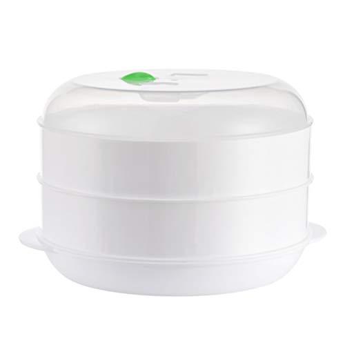 SOLUSTRE Dampfgarer für Mikrowelle 2 Ebenen Knödel Reis Dim Sum Gemüse Dämpfkorb Vaporisator für Fleisch Fisch Babyflaschen Baby Schnuller Sauger Mikrowellengeschirr 26,5x22x16,5 cm