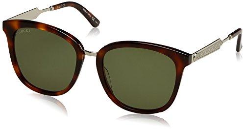 Gucci GG0073S 003 zonnebril voor volwassenen, uniseks, bruin (Avana/Green), 55