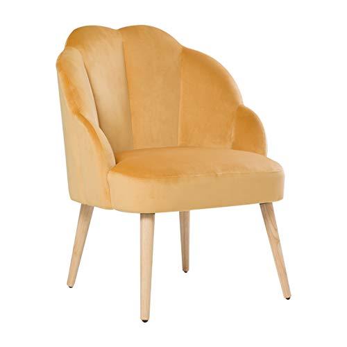 HIC High in the clouds Samt Stuhl mit Holzbeinen Polsterstuhl mit einfacher Montage für Wohnzimmer und Schlafzimmer Schminktisch Gelb Stuhl bis 150 Kg
