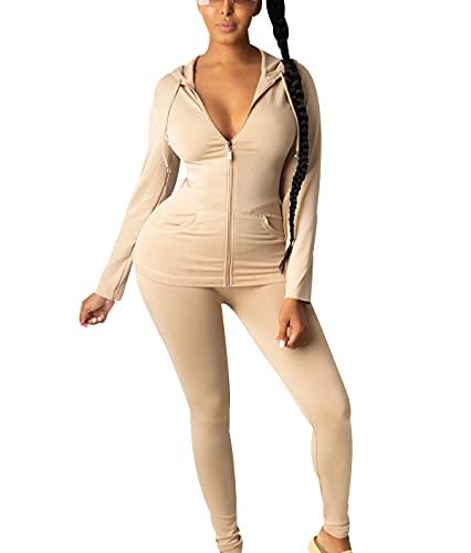 OADOBKICE Monos Mujer Chándal Manga Larga Para Mujer Chándal Ligero Mujer Mono Largo Mujer Mono Talla Grande Para Mujer Arriba Y Abajo Sudadera Mujer Negro Mujer Chándal 111Pcs Deportivo Caqui L
