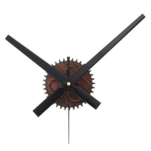 Dyna-Living Horloge Murale Geante, Mécanisme Horloge Murale Grandes Aiguilles, Retro Orloge Murale 3D DIY Décoration d'Intérieur - Noir