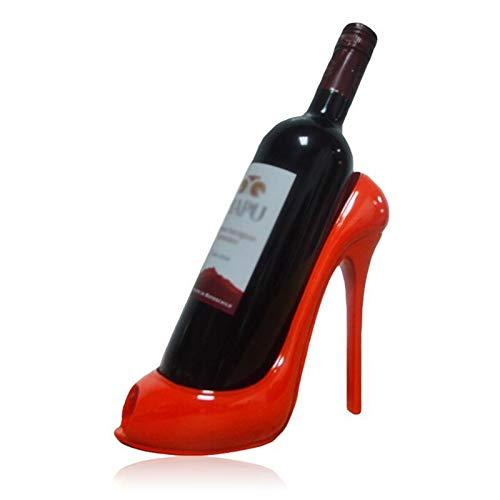 Botellero de Vino, Innovador tacón alto Rostro de vino Resina Botella de vino Soporte Soporte Adorno de boda Casa Sala de estar Hotel Decoración de la mesa (Color : Red)