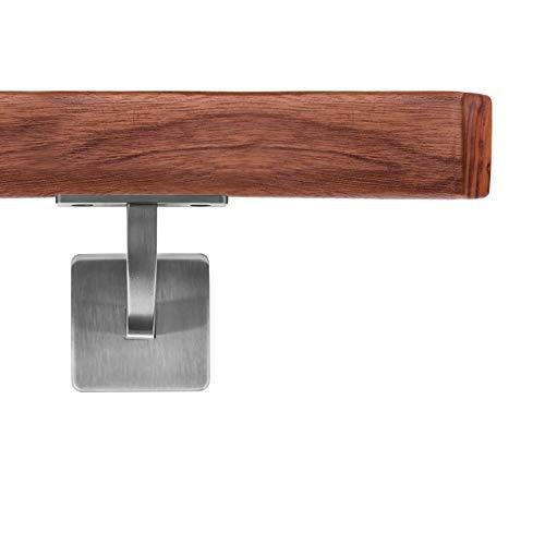 Pasamanos de madera VKT 42 x 42 mm, pasamanos de pared de nogal, soporte cuadrado, 100 cm, 2 soportes