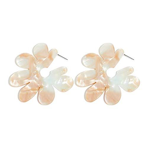 Greatangle-UK Nuevos Pendientes de Resina de Flores Grandes Pendientes de Placa de Acetato acrílico para Mujer Pendientes de pétalos