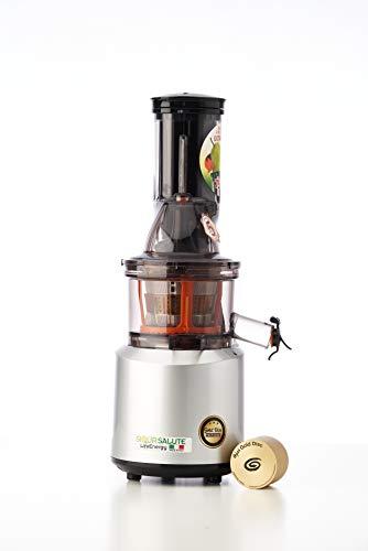Siqur Salute, Estrattore di succo a freddo Made in Italy LifeEnergy PRO, Estrattore professionale di Succo Vivo con Gold Disc technology, bassa velocità 60 giri Min, motore AC da 240 Watt (Argento)