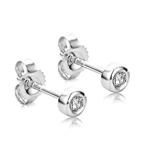 Orovi Ohrstecker Ohrringe Set,Damen Weißgold Ohrstecker mit Diamant 9Karat (375) Brillanten 0.10crt