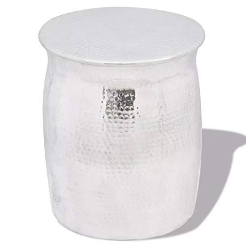 Binzhoueushopping bijzettafel/kruk, gehamerd, comfortabel, van aluminium, 36 x 42 cm (diameter x hoogte), zilverkleurig