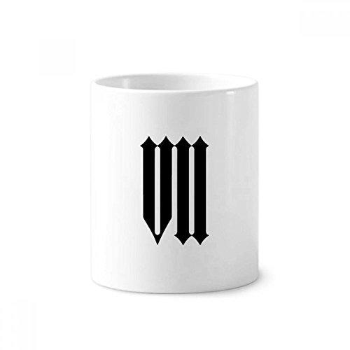 DIYthinker Romeinse cijfers Zeven In Zwart silhouet Keramische Tandenborstel Pen Houder Mok Wit Cup 350ml Gift 9,6 cm hoog x 8,2 cm diameter