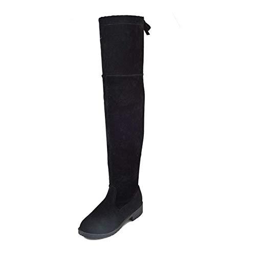 YUNGYE Botas de Mujer Otoño e Invierno Nuevas Botas sobre la Rodilla Elegante Confort Minimalista más algodón (Color : Black Cotton, Shoe Size : 35)