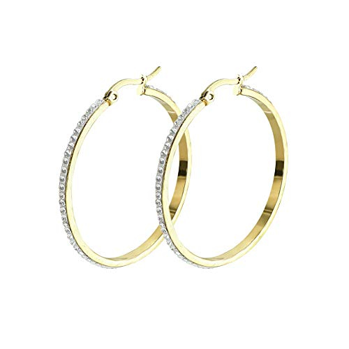 Yumay 9CT Yellow Gold Round Hoop Earrings With White Crystal for Women and Girls(40MM)
