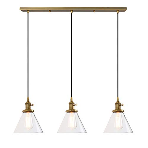 Permo Vintage Rustic Industrial 3-Lights Kitchen Island Chandelier Triple 3 Heads Pendant Hanging Ceiling Lighting Fixture with Funnel Flared Clear Glass Shade (Antique)