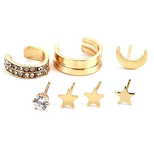 WEFH Pendientes de Estrella y Luna de Cinco Puntas Pendientes chapados en aleación Hermosos Regalos Femeninos, Oro