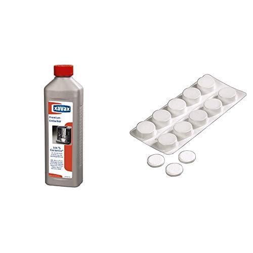 Xavax Premium Entkalker + Reinigungstabletten (Entfettertabletten für Kaffeevollautomaten und Espressomaschinen, geeignet für alle gängigen Marken) 500 ml + 10 Stück