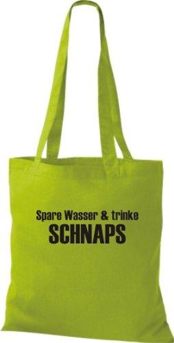 Stoffbeutel SPARE WASSER & TRINKE SCHNAPS Baumwolltasche, Beutel, Umhängetasche, Farbe lime