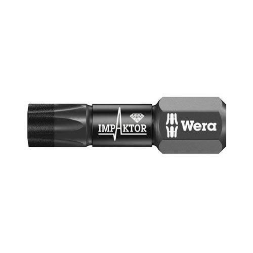 Wera - 5057625001 867/1 Diamond Coated Impaktor Torx Screwdriver Bits for TX25 Torx Socket Screws, Pack of 10