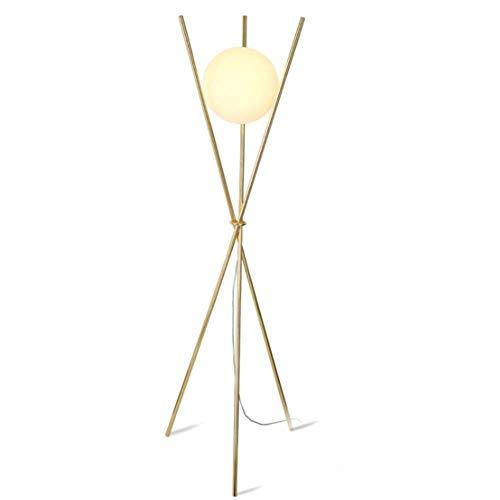CLJ-LJ Lámpara de pie postmoderna Nordic Trípode dorado redondo globo de cristal de hierro forjado chapado acabado lámpara de pie 1,51 m con interruptor de pie para salón dormitorio Uffi.