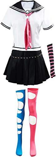 Top WHY Mioda Ibuki Cosplay Disfraz japons de Secundaria Marinero Camisas de Vestir Uniforme Anime Danganronpa Cosplay Disfraces con Calcetines Conjunto Completo para Mujeres nias