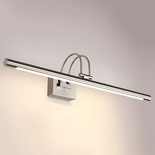 Modern Badezimmer LED Spiegellampe 62cm in Chrom Schwenkbare, Wandlampe Spiegelleuchte 9W 3000K Warmeslicht, Wandleuchte für Bad Spiegel Kabinett Wohnzimmer Wandbild