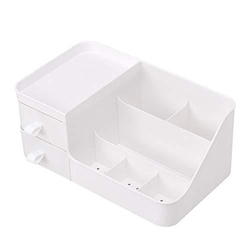 Phoeni Caja de almacenamiento organizadora de cosméticos para escritorio, caja de joyería para el hogar (color blanco)