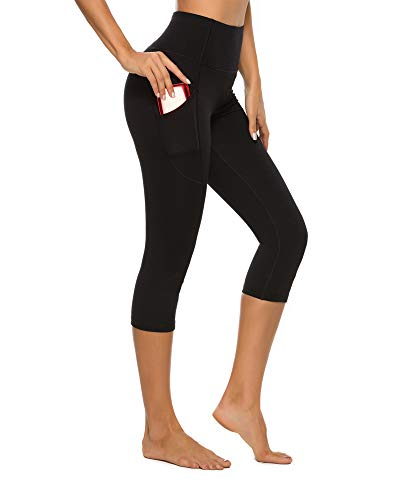 Stelle Women's Capri Yoga Pants with Pockets Essential High Waisted Legging for Workout (Cotton Like Softness-Black, Large)