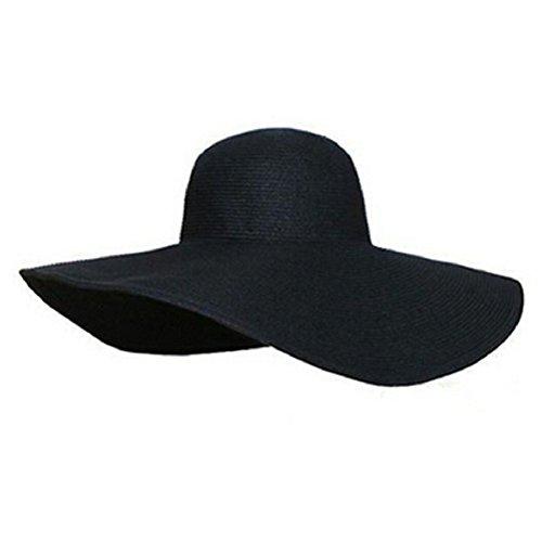 Culater® Frauen faltbare große Krempe Hut Sonnenhüte schlaff Sommer Strand Hut Strohhut (schwarz)