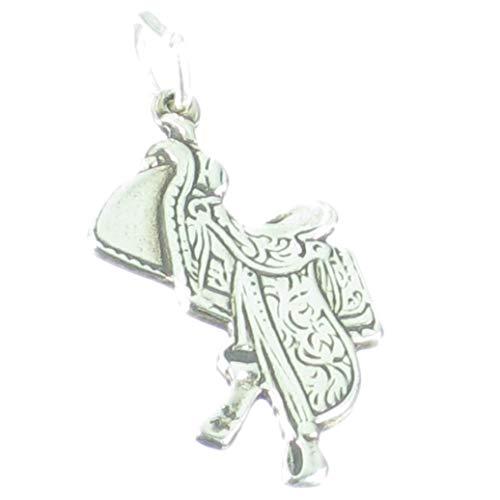 Silla 2D de plata esterlina 925. 1 x caballo caballos sillines encantos SSC06