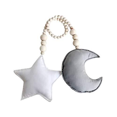 Vosarea Cuna Moon Star Mobile Cuna de bebé Sentido Colgando Juego Móvil para niños pequeños Decoración de Cama para niños (Luna Gris y Estrella Blanca)