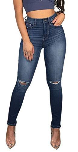 Women's High Waisted Butt Lift Stretch Ripped Skinny Jeans Juniors Girls Distressed Denim Pants (Blue, US 14)
