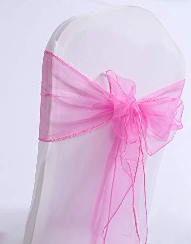 Namvo 10 bandas de organza para silla, más ancho de banda, lazos para la cubierta de la silla, para bodas, fiestas, eventos, cumpleaños, decoración (rosa)