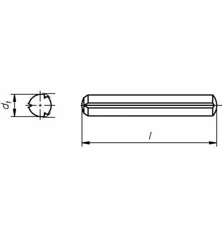 Reidl Zylinderkerbstifte 6 x 55 mm DIN 1473 Stahl blank 1 Stück
