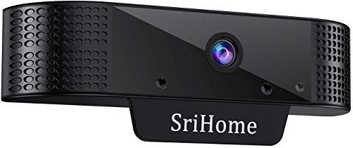 QZT HD 1080P Webcam, Srihome Webcam mit Mikrofon - HD 1080P PC Laptop Computer Kamera mit Gesichtserkennung für MacBook Mac Windows Linux, USB Webcam für Videokonferenz Skype Konferenz Aufnahme