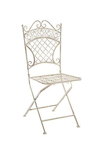 CLP Chaise de Jardin Pliante Adelar - Chaise de Balcon en Fer Forgé - Meuble de Terrasse et pour Usage Extérieur - Hauteur Assise 47 cm - Couleur Crème Antique