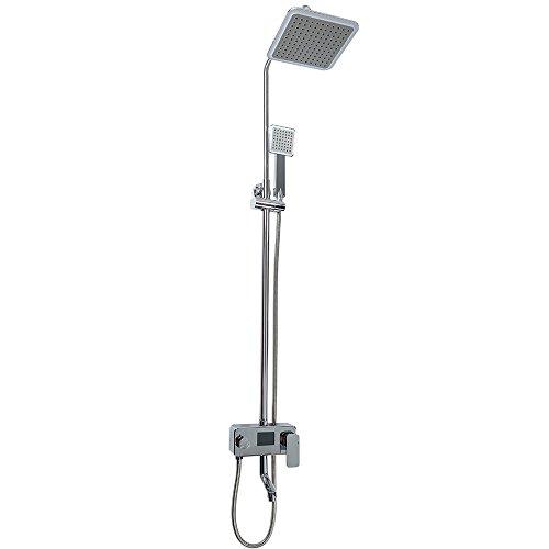 Kit de ducha, pantalla LCD digital, tiempo de visualización y temperatura, con cabezal de ducha de mano, ajustable en altura