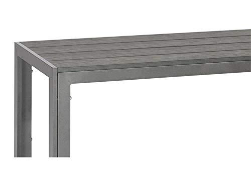 Lifestyle For Home Sitzbank Gartenbank 120 cm Bank Aluminium Polywood anthrazit dunkelgrau
