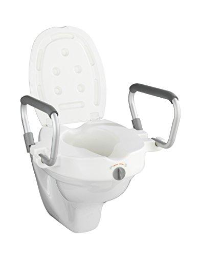 WENKO WC-Sitz Erhöhung mit Stützgriffen Secura - Toilettensitzerhöhung, Kunststoff, 5535 x 37.5 x 47.542.5 cm, Weiß