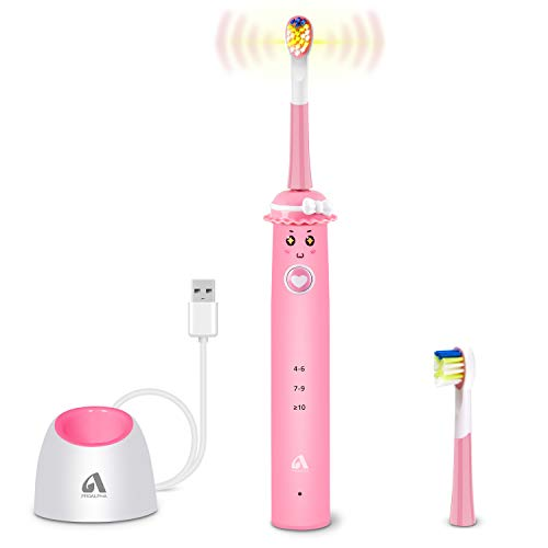 Sonic Whitening Kids Electric Toothbrushes Wireless USB Rechargeable Toothbrush With 2 Reminder Heads 3 Modes with Timer Color Pink/White Random Color