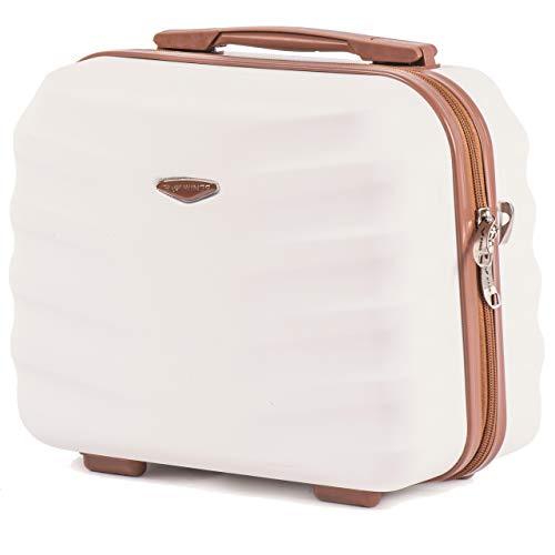 Wings Geräumiger Kabinentrolley - Leichter Flugzeugkoffer - Luxuriöser und moderner Koffer Kosmetikkoffer Kosmetiktasche (Schmutziges Weiß, Kosmetikkoffer)
