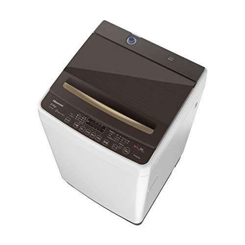 ハイセンス 全自動洗濯機 8kg HW-DG80A 本体幅53cm 省エネ 静音 ガラスドア ホワイト/ブラウン