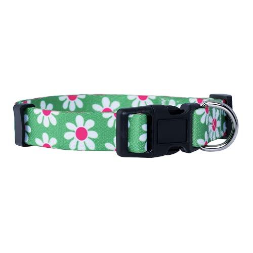 Native Pup Flower Dog Collar, Adjustable Small Medium Large, Cute Girl Female Summer Spring Pretty Designer Puppy Essentials Accessories, Pink Floral Blue Daisy Rose (Medium, Green Daisy)